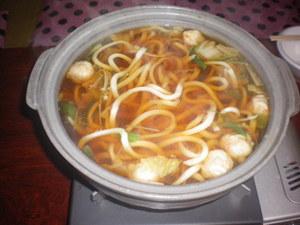 佐藤小屋の朝食。夕食の肉鍋の残り汁を使ってうどん鍋でした。ダシが効いていて美味しかったです。
